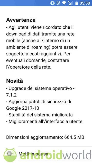 screenshot aggiornamento Nokia