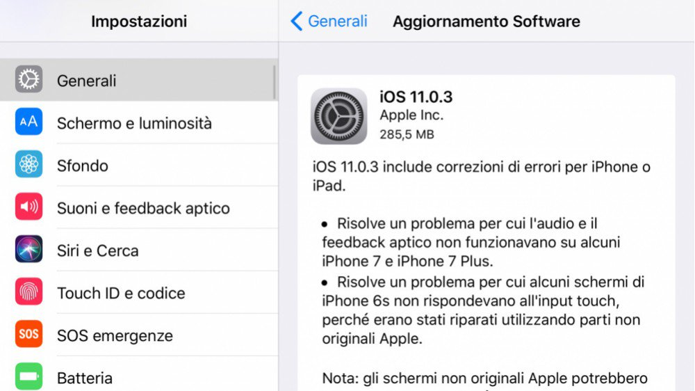 IOS 11.0.3: su iPhone si riscontrano i primi problemi